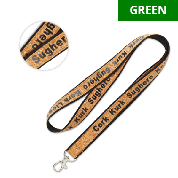 Lanyard with cork overlay