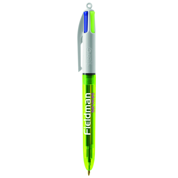 BIC® 4 Colours Fluo with lanyard ballpen