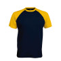 BASE BALL > T-SHIRT BICOLORE MANCHES COURTES navy / yellow XL