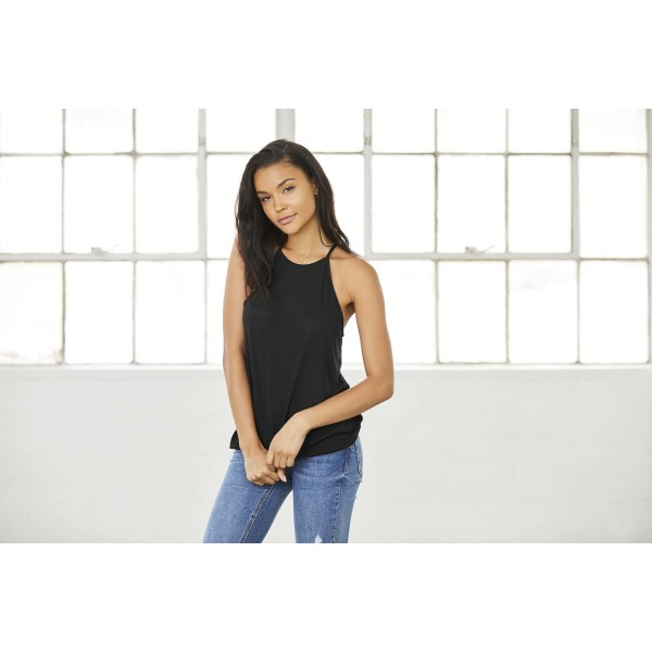 Ladies' flowy high neck tank top