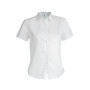 Dames stretch blouse korte mouwen white xs