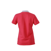 Ladies' Elastic Polo Short-Sleeved - roze/wit
