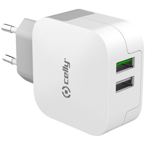 Celly adapter met 2.4A Turbocharge voorzien van 2 usb poorten