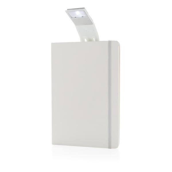 A5 notitieboek met LED leeslamp, wit