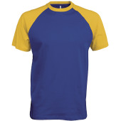 Baseball - tweekleurig t-shirt royal blue / yellow l