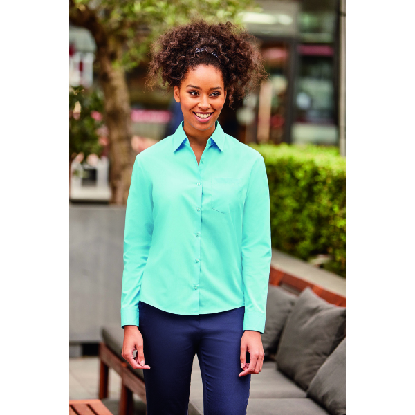 Ladies Long-Sleeve PolyCotton Poplin shirt