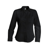 Dames stretch blouse lange mouwen black l