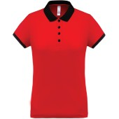 Dames-sportpolo red / black xs