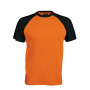 BASE BALL > T-SHIRT BICOLORE MANCHES COURTES orange / black S