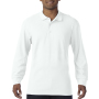 Gildan Polo Premium Cotton Double Pique LS for him White S