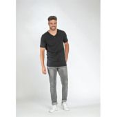 L&S T-shirt V-neck fine cotton elasthan