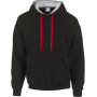Heavy blend™ classic fit adult contrast hooded sweatshirt black / red l