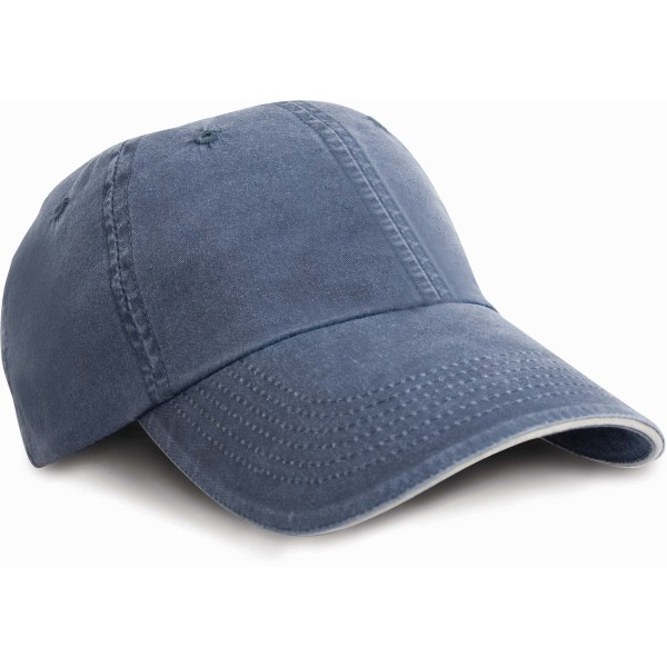 Washed fine line cotton cap with sandwich peak