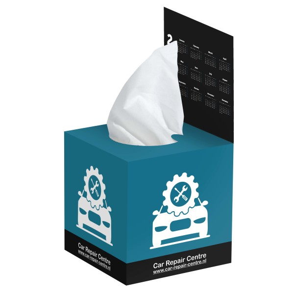 Tissue box met flap