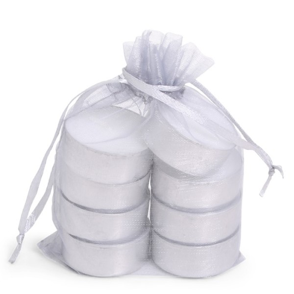SENZA Organza Tealight Bag /8 Silver