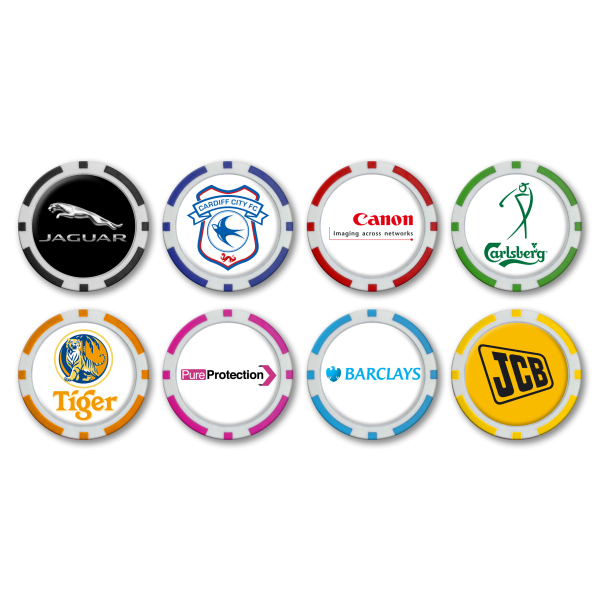 40mm Monaco Poker Chip Ballmarker with Logo Doming on 1 side