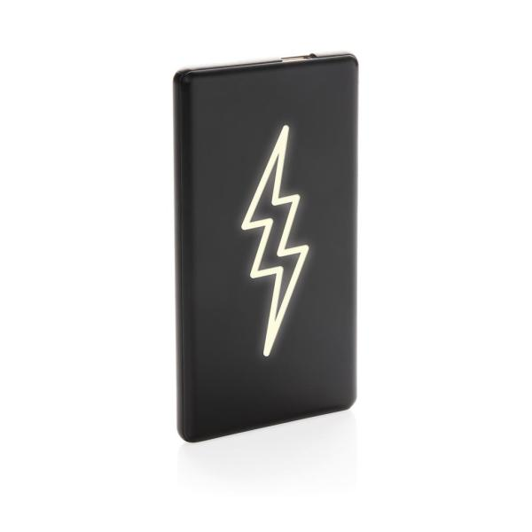 Light up logo 4.000 mAh powerbank, zwart