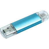 Aluminium On-the-Go (OTG) USB-stick - blauw - 32 GB