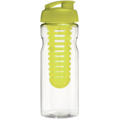 H2O Base® 650 ml sportfles en infuser met flipcapdeksel - Transparant/Lime
