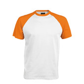 Baseball - tweekleurig t-shirt white / orange m