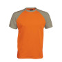 BASE BALL > T-SHIRT BICOLORE MANCHES COURTES orange / light grey M