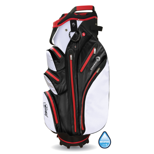 Tornado Waterproof Cart Bag met 14 club verdeler in wit/zwart/rood en zwart/zilver