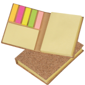 Sticky marker and sticky note book in a cork envelope