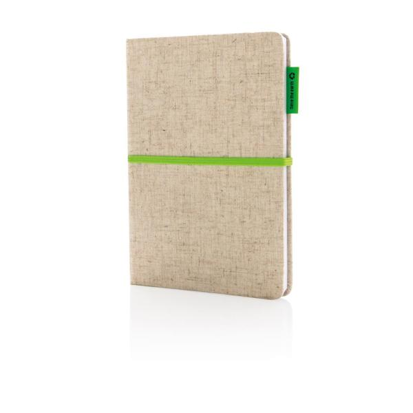 A5 Eco jute cotton notebook, green