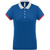 Dames-sportpolo sporty royal blue / white / red xxl