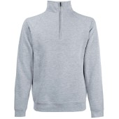 Premium zip neck sweat (62-032-0) heather grey s