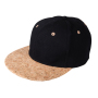 6 Panel Cork Flat Peak Cap zwart/naturel