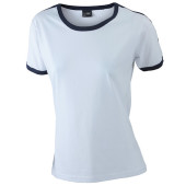 Ladies` Flag-T - wit/navy