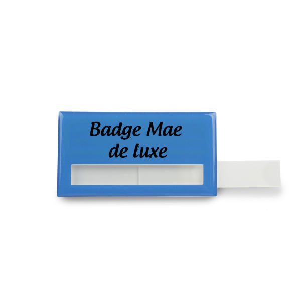 Badge Mae Rechthoek, 74 x 20 mm, Magnet, Doming in full color Elke kleur mogelijk met full color doming