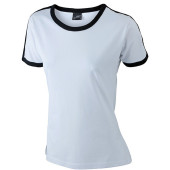 Ladies` Flag-T - wit/zwart