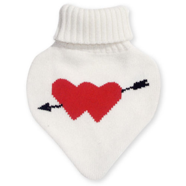 1000 C.C. Heart Shaped Rubber Hot Water Bottle Bags with Knitted Cover