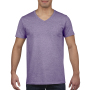 Gildan T-shirt V-Neck SoftStyle SS for him Heather Purple XXL