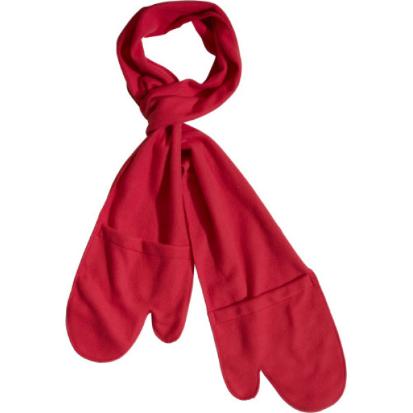 Polar fleece scarf with glove