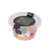 Transparant Biodegradable bakje met los deksel, gevuld met 60 gr. chococarletties of jelly beans