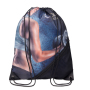 RPET drawstring bag with zippered mesh pouch