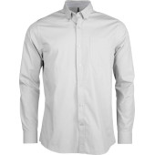 Long-sleeved washed cotton poplin shirt