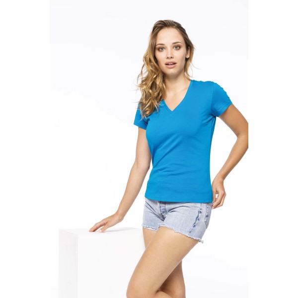 Ladies' short-sleeved v-neck t-shirt