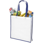Large contrast non woven boodschappentas - Wit/Blauw
