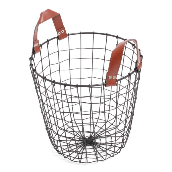 Iron Basket Black with PU Handles