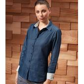 Ladies Long Sleeve Denim-Pindot Shirt
