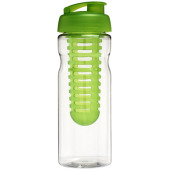 H2O Base® 650 ml sportfles en infuser met flipcapdeksel - Transparant,Lime