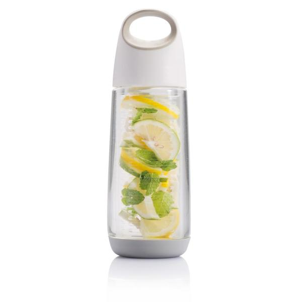 Bedrukte Bopp waterfles met infuser, wit