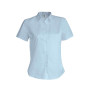 Dames stretch blouse korte mouwen light blue xl