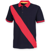 Diagonal stripe men's polo shirt navy / red xl