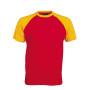 BASE BALL > T-SHIRT BICOLORE MANCHES COURTES red / yellow S