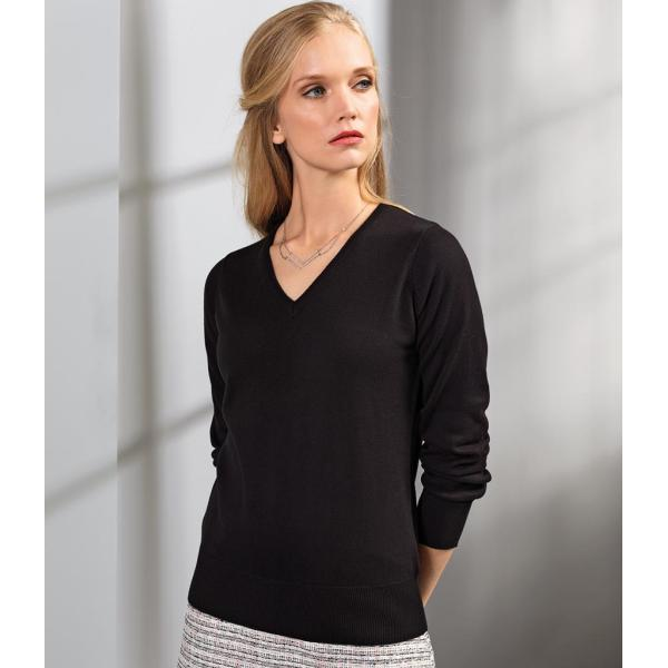 Ladies Knitted Cotton Acrylic V Neck Sweater